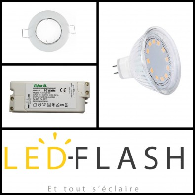Kit Ampoule Led GU5.3 4W avec support (eq. 30W) I Led Flash