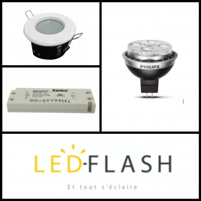 Kit Master ampoule Led GU5.3 10W (eq. 50W) Dimmable support étanche I Led FLash