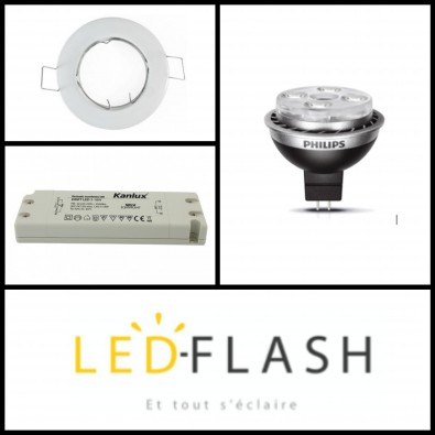 Kit Master ampoule Led GU5.3 10W (eq. 50W) Dimmable avec support I Led Flash