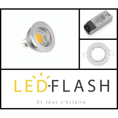Kit spot led GU5.3 COB 5 watt Dimmable - Support Rond Fixe Blanc | Led-Flash