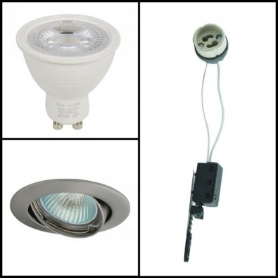 Kit Spot led GU10 4,5 watt (eq. 50 watt) - Support Gris